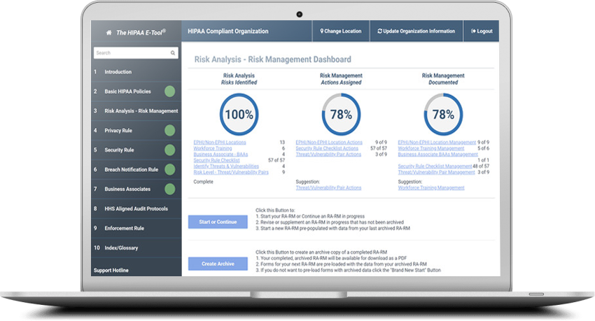 View of Risk Management Dashboard on Macbook Pro