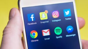 Social media icons on a mobile device