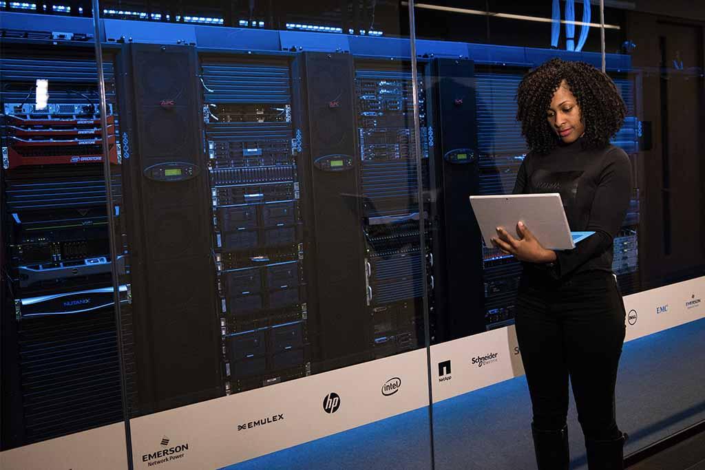 Woman managing web server