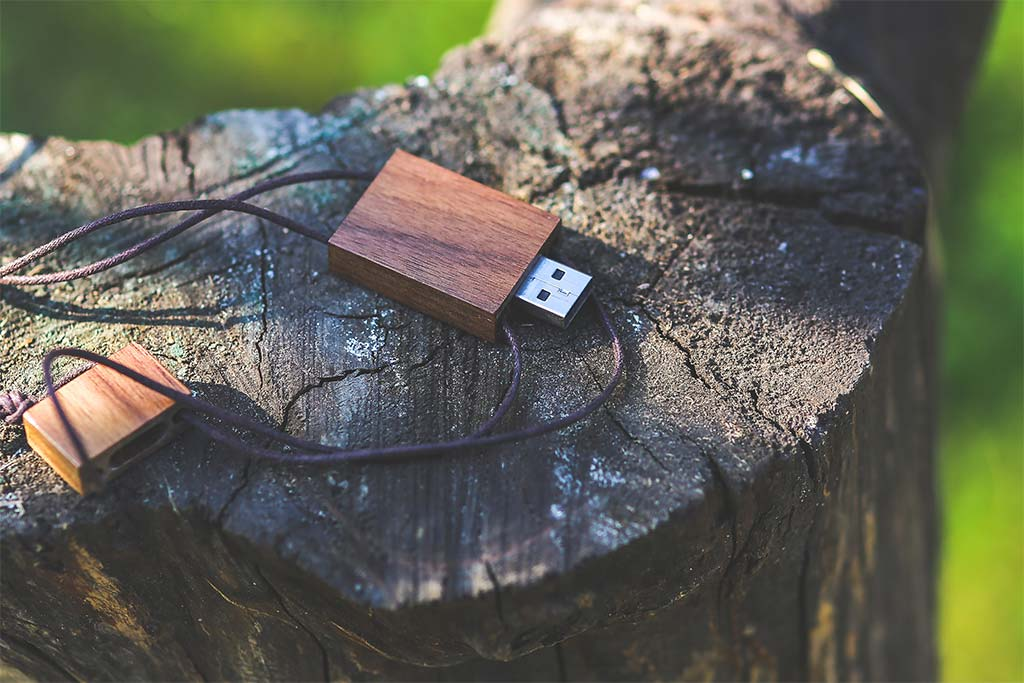 thumb drive with ePHI data sitting on a stump