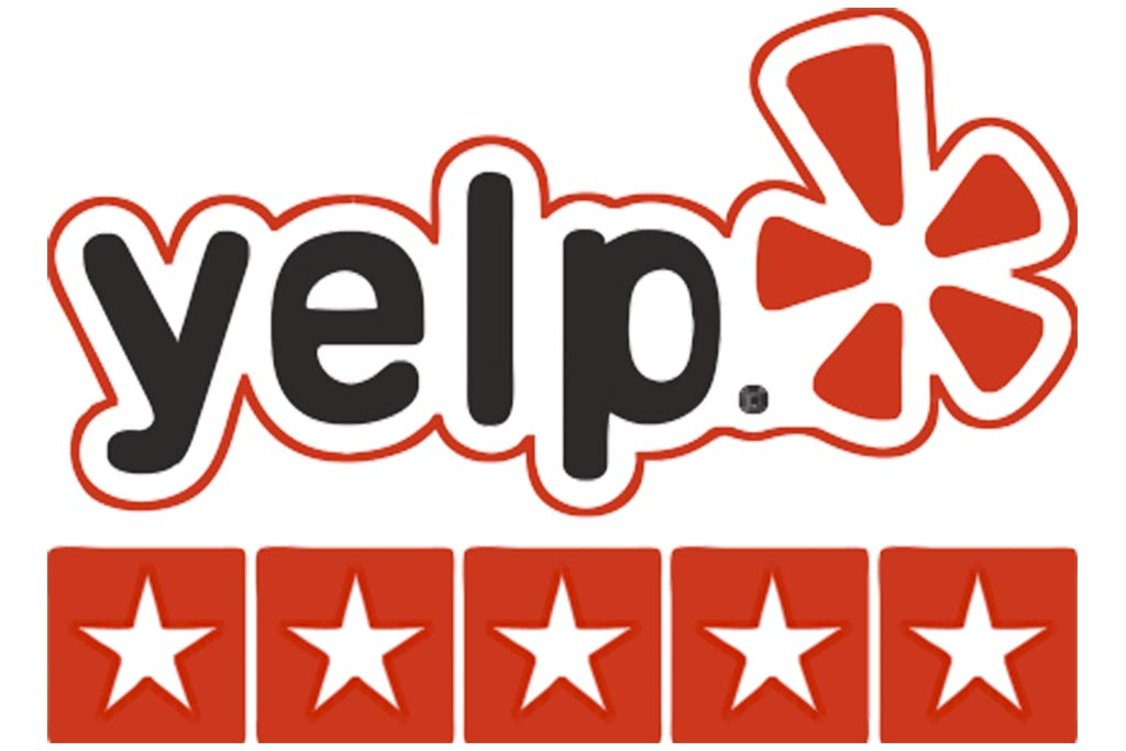 Yelp logo and five stars