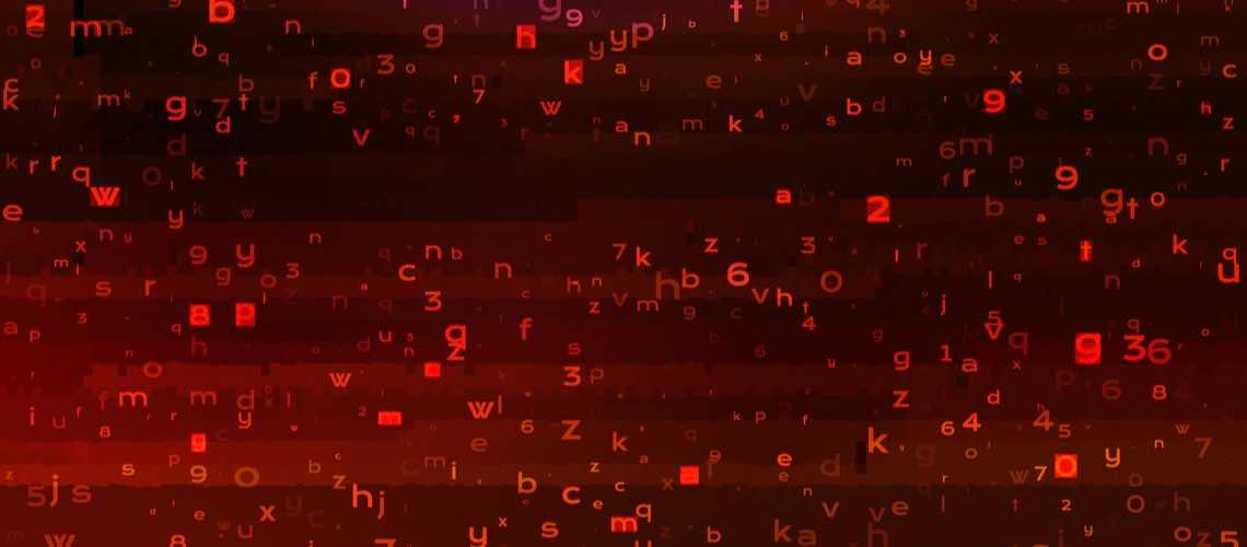 binary code in red